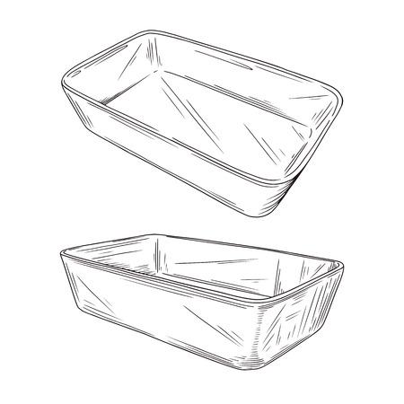 Skizzieren Sie verschiedene Arten von Backformen auf weißem Hintergrund. Vektor-Illustration