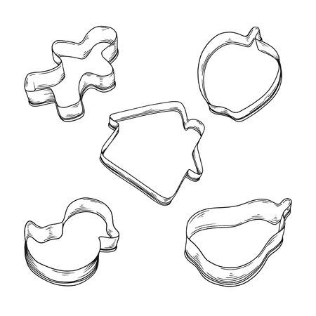 Sketch cookie cutter in various style isolated on white background. Vector