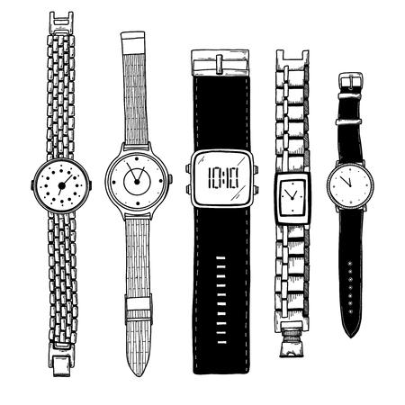 Realistic sketch of a watch. Set of different watches. Vector