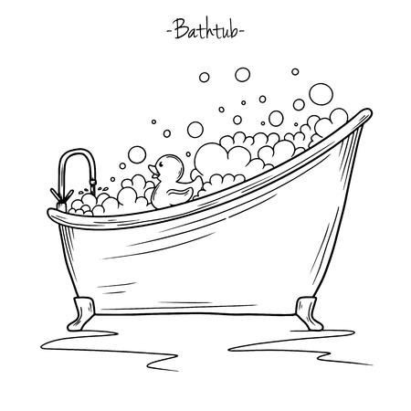 목욕 거품과 고무 오리를 스케치합니다. 스케치 스타일의 벡터 일러스트 레이 션.