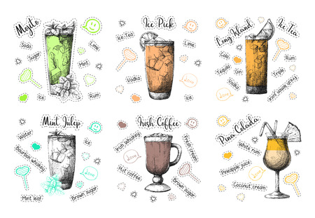 Sketch different cocktail recipes. Mojito, Pina Colada, Irish Coffee and others. Vector illustration