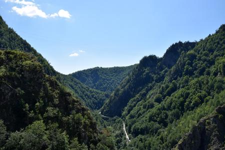 Arges river valley near Vidraru Dam. Arges canyon, Transfagarasan road, Romania.