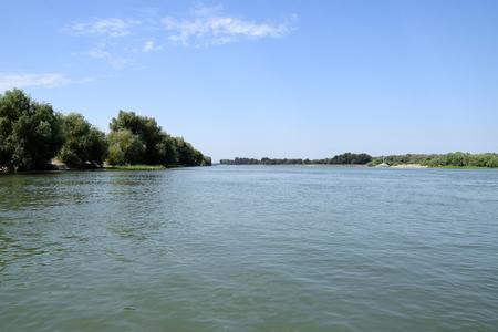 Landscape of Danube Delta. Danube - Sulina Branch. Sulina distributary channel. Romania.