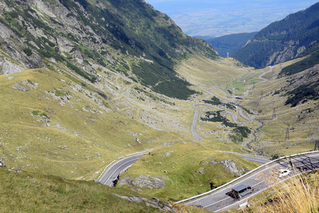 Landscape of Fagaras mountains with Transfagarasan (DN7C) road. Romania. Stock Photo