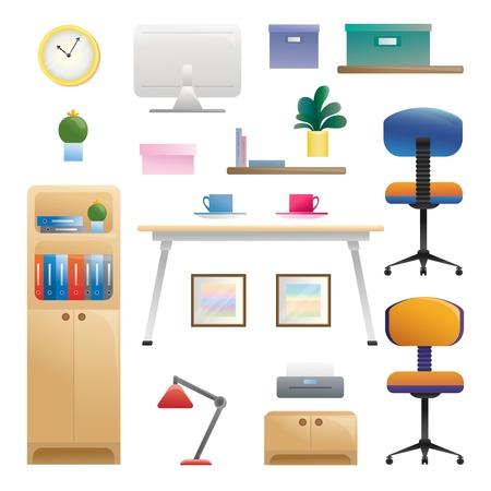 Conjunto de diferentes elementos interiores. Sala de trabajo. Ilustración de vector de estilo plano.