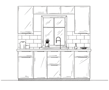 Kitchen interier. Kitchen furniture with a window opposite the sink. Vector illustration
