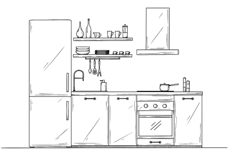 Sketch of the kitchen front view. Vector illustration.