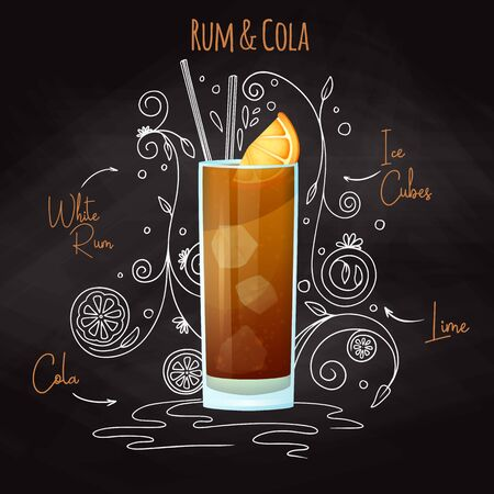Simple recipe for an alcoholic cocktail Rum Cola. Drawing chalk on a blackboard. Vector illustration Illustration