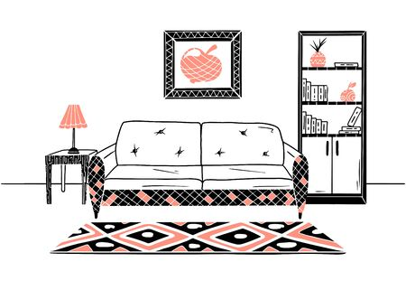 Interior in Scandinavian style. Part of the room. Hand drawn vector illustration of a sketch style. Illustration