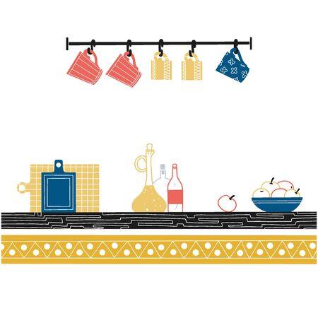 Sketch of shelves with different utensils. Vector illustration.