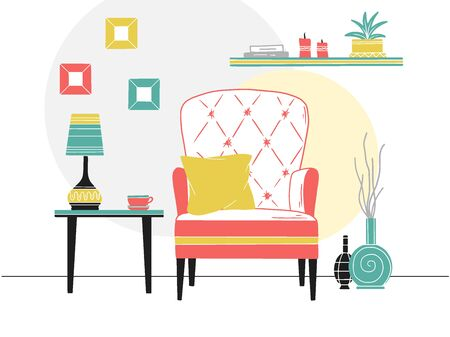Chair, table with mug. Shelf with books and plants. Hand drawn vector illustration of a sketch style