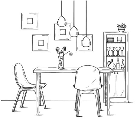 Part of the dining room. On the table vase of flowers. Lamps hang over the table. Hand drawn sketch.Vector illustration.
