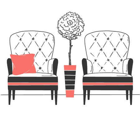 Two chairs and a tree in a high pot. Illustration in flat style hand drawn Illustration