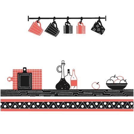Sketch of shelves with different utensils. Vector illustration.