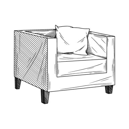Realistic sketch armchair isolated on white background. Vector illustration in sketch style. Illusztráció