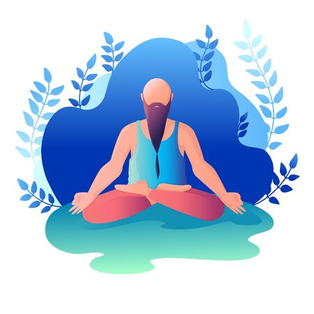 A man sitting in a lotus position. Vector illustration in flat style.