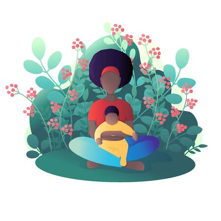 Mom and child are sitting in the lotus position. Vector illustration in flat style. Standard-Bild - 129974789