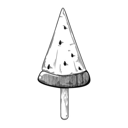 Sketch of ice cream on a stick. Vector illustration in sketch style Illustration
