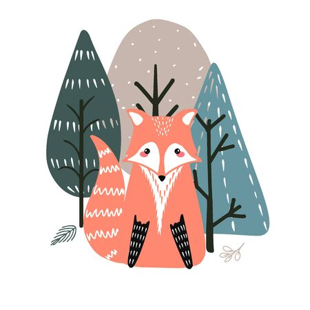 Cute fox on a background of trees. Hand drawn illustration in scandinavian style. Illustration