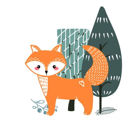 Cute fox on a background of trees. Hand drawn illustration in scandinavian style. Illusztráció