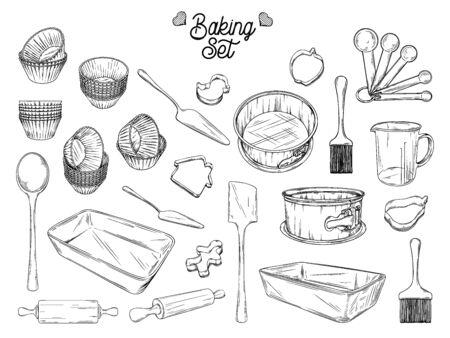Geschirr zum Backen. Backzeug Vektor-Illustration im Sketch-Stil.