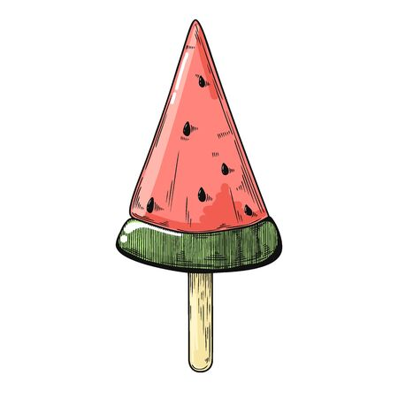 Realistic sketch of ice cream on a stick. Vector illustration in sketch style.