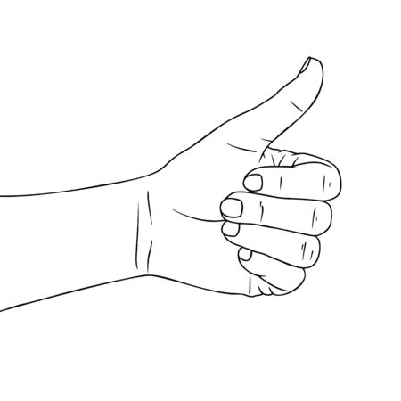 Sketch hand with a raised thumb. Hitchhiking sign, good. Vector