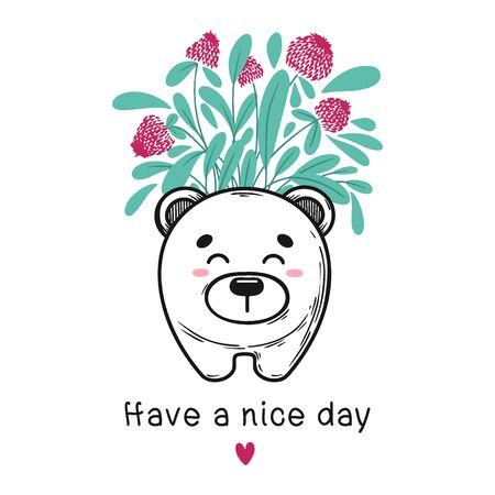 House plant in a pot with a muzzle of the animal. Cute bear face on the pot. Vector illustration
