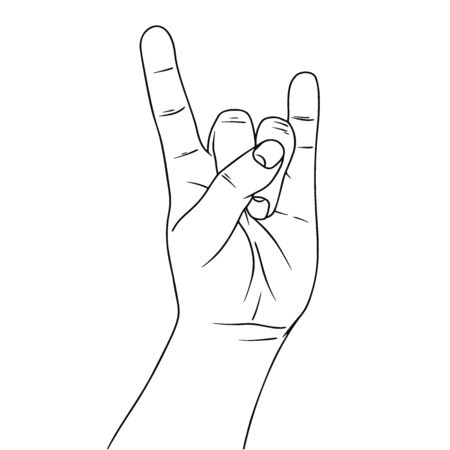 Hand symbolizing a gesture rock n roll. Illustration in sketch style. Hand drawn vector illustrations. Illusztráció