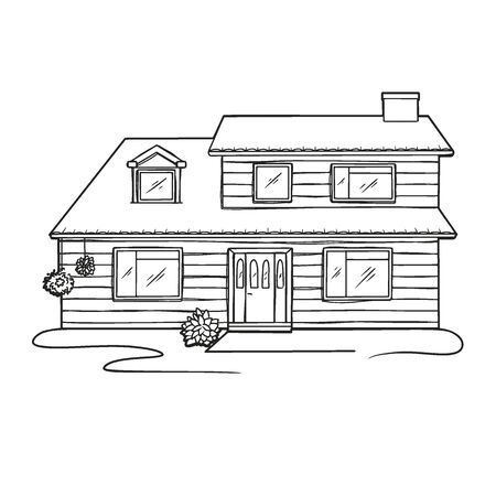 Sketch of home isolated on white background. Vector illustration