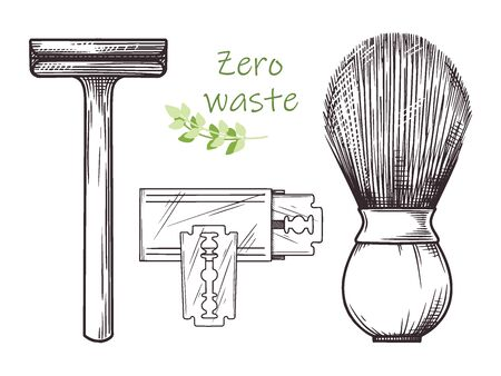 Ecological shaving kit. Zero waste. Metal razor and wooden brush. Vector illustration