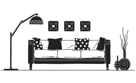 Interior in Scandinavian style. Part of the livingroom. Hand drawn vector illustration of a sketch style.