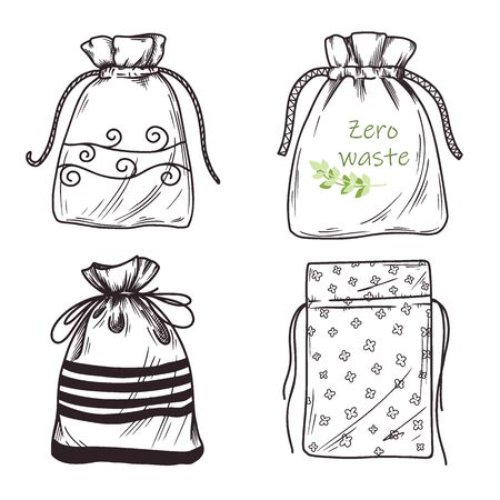 Set of different linen bags, packages. Zero waste. Vector illustration