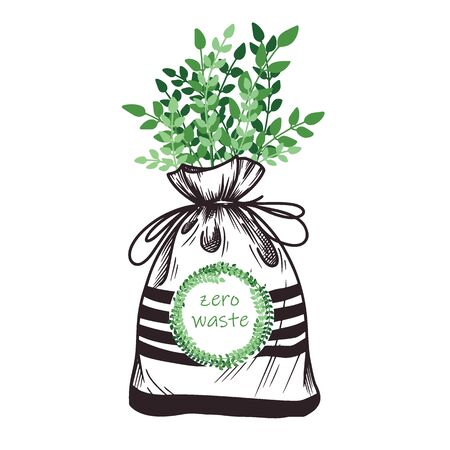 Ecological bag of linen with greens. Zero waste. Vector illustration.