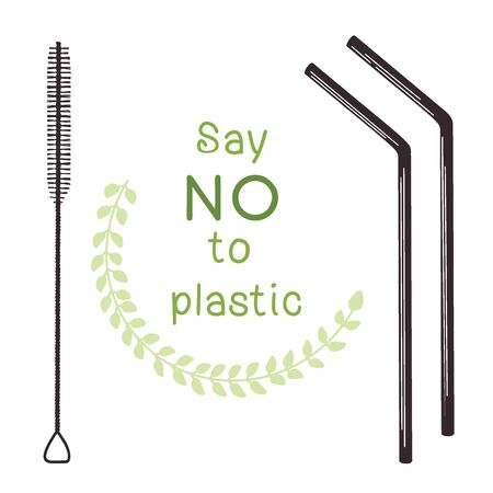 Ecological tubules for drinking. Zero waste. Metal tube for drinking and brush for cleaning. Vector illustration