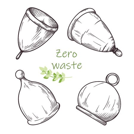 Set of different menstrual cups. Zero waste. Vector illustration