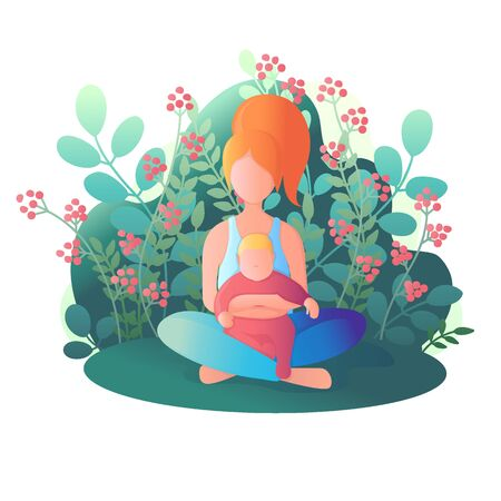 Mom and child are sitting in the lotus position. Vector illustration in flat style. Illusztráció