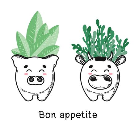 House plant in a pot with a muzzle of the animal. Cute muzzle on the pot. Vector illustration. Cow and pig