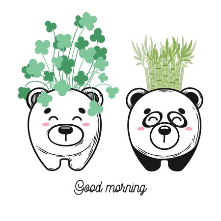 House plant in a pot with a muzzle of the animal. Cute muzzle on the pot. Vector illustration. Bear and panda Illustration