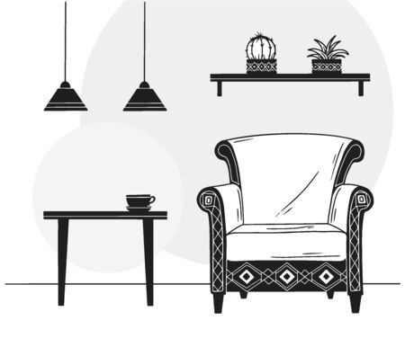 Interior in Scandinavian style. Part of the room. Hand drawn vector illustration of a sketch style. Illusztráció