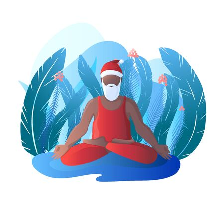 Santa Claus sits in a lotus position. Santa Claus is engaged in yoga. Vector illustration in flat style.