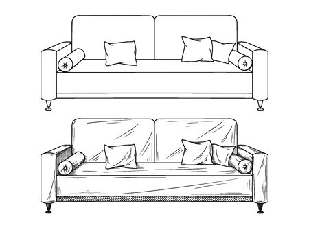 Realistic sketch of sofas isolated on white background. Vector illustration Illusztráció