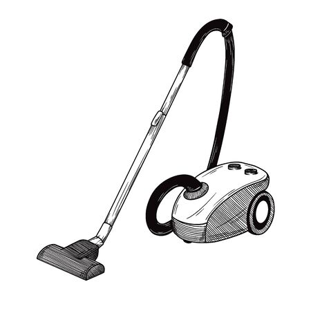 Sketch of the vacuum cleaner on a white background. Vector illustration in sketch style.