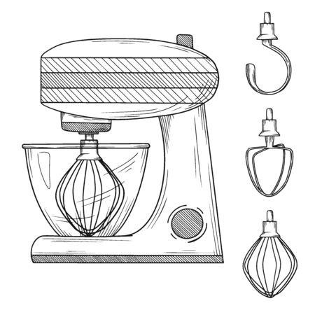 Food processor with different nozzles isolated on white background. Vector illustration in sketch style