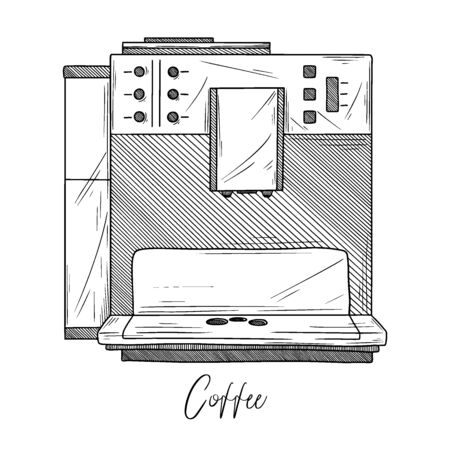 Sketch of coffee maker isolated on white background. Vector illustration in sketch style. Illusztráció