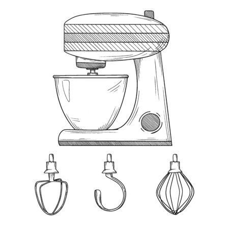 Food processor with different nozzles isolated on white background. Vector illustrations in sketch style