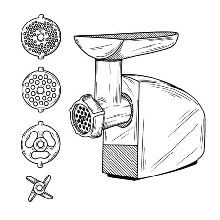 Sketch grinder on a white background. Vector illustration in sketch style. Vectores
