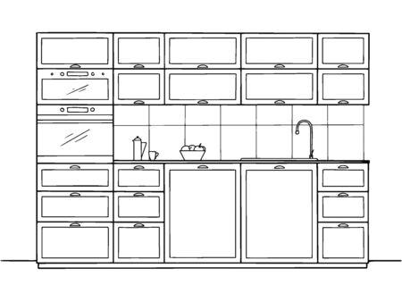 Hand drawn kitchen furniture. Vector illustration in sketch style.