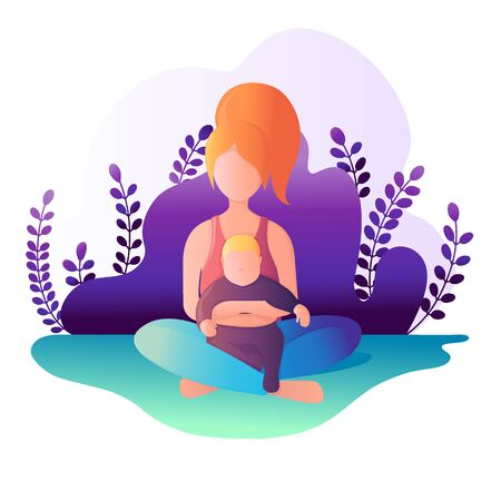 Mom and child are sitting in the lotus position. Vector illustration in flat style. Illustration