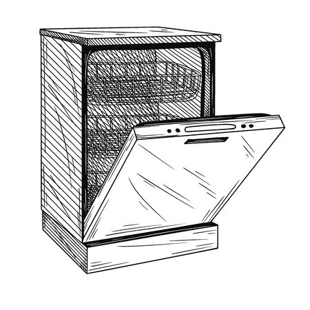 Dishwasher isolated on white background. Vector illustration of a sketch style.